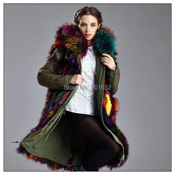 7 colorful Fox fur coats parka real green Fur Coat Jacket Women Winter Fur Coat Plus size mr mrs fur