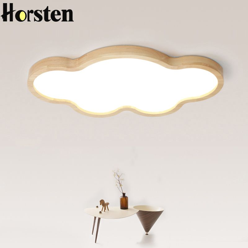 Nordic Japanese Creative Clouds LED Ceiling Lamp Wooden 24W Child Baby Room Lights Ceiling Lamps Bedroom Decoration Lights 220V