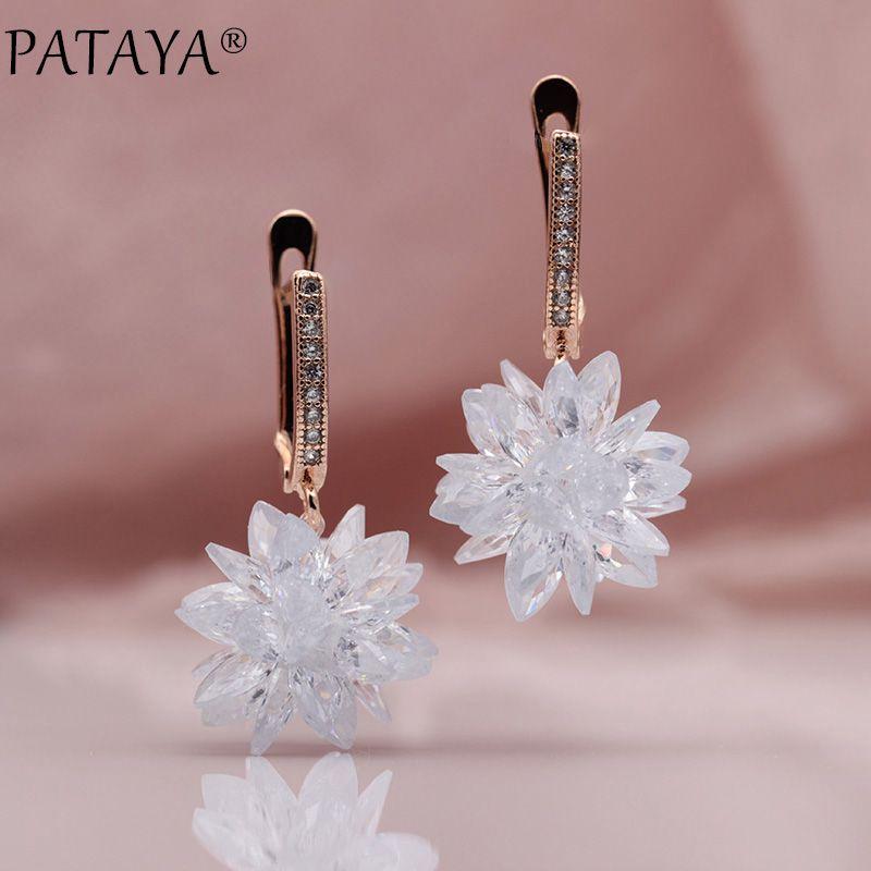 PATAYA New 585 Rose Gold Micro Wax Inlay Manual Ball Natural Zirconia Long Dangle Earrings Women Wedding Luxury Tassel Jewelry