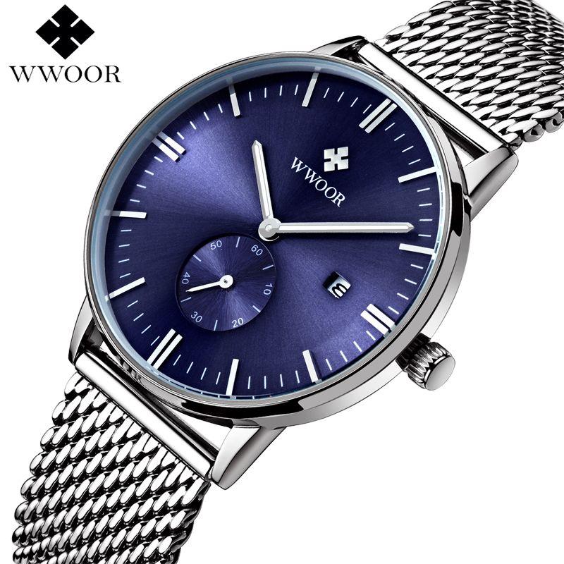WWOOR Travail Sous-cadran Montre À Quartz Étanche Hommes Sport Montres Top Marque De Luxe Horloge Mâle Argent Bracelet En Acier Casual Montre-bracelet