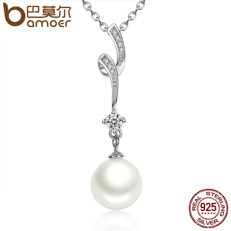 BAMOER 100% 925 Sterling Silver Shell Pearl Wave Chain Long Pendant Necklaces Wedding Jewelry Necklace Accessories SCN048
