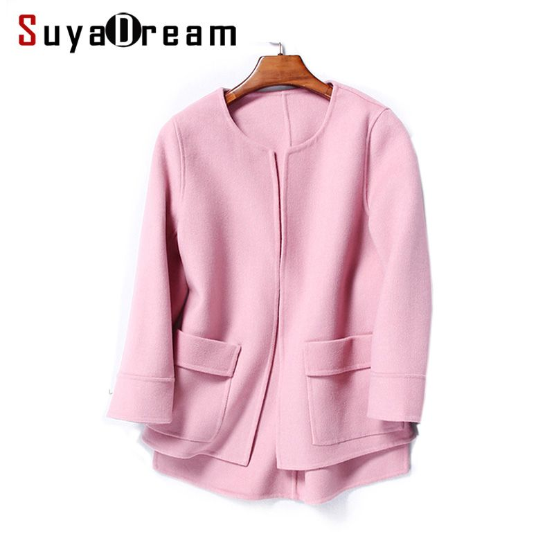 Women Wool Coat 95%Wool 5%Cashmere Short coats Two Pockets O neck Outer wear 2017 Winter RED PINK