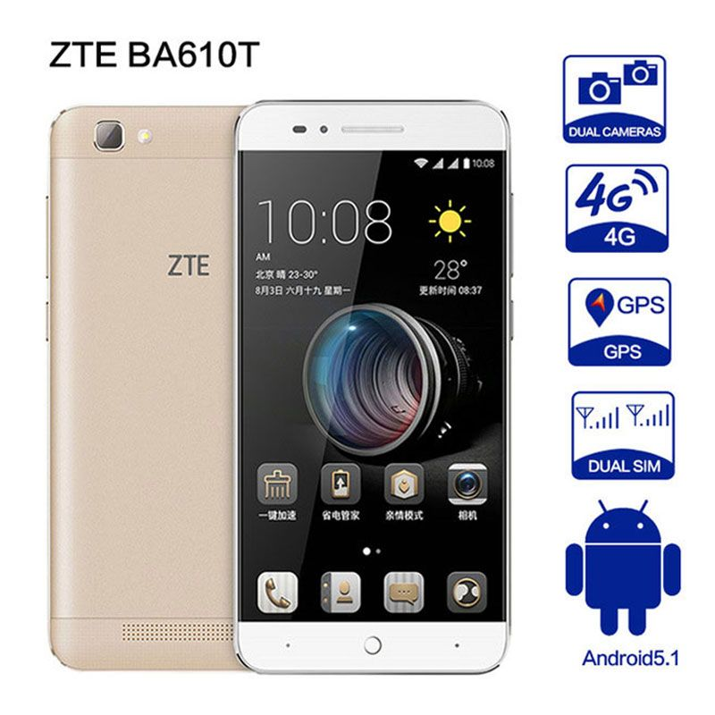 Original ZTE BA610T MTK6735P Quad Core Phone Android5.1 2G RAM 8G ROM 8.0MP <font><b>4000mAh</b></font> Dual SIM 8MP OTG telefone A1 A2 BA601 C880U