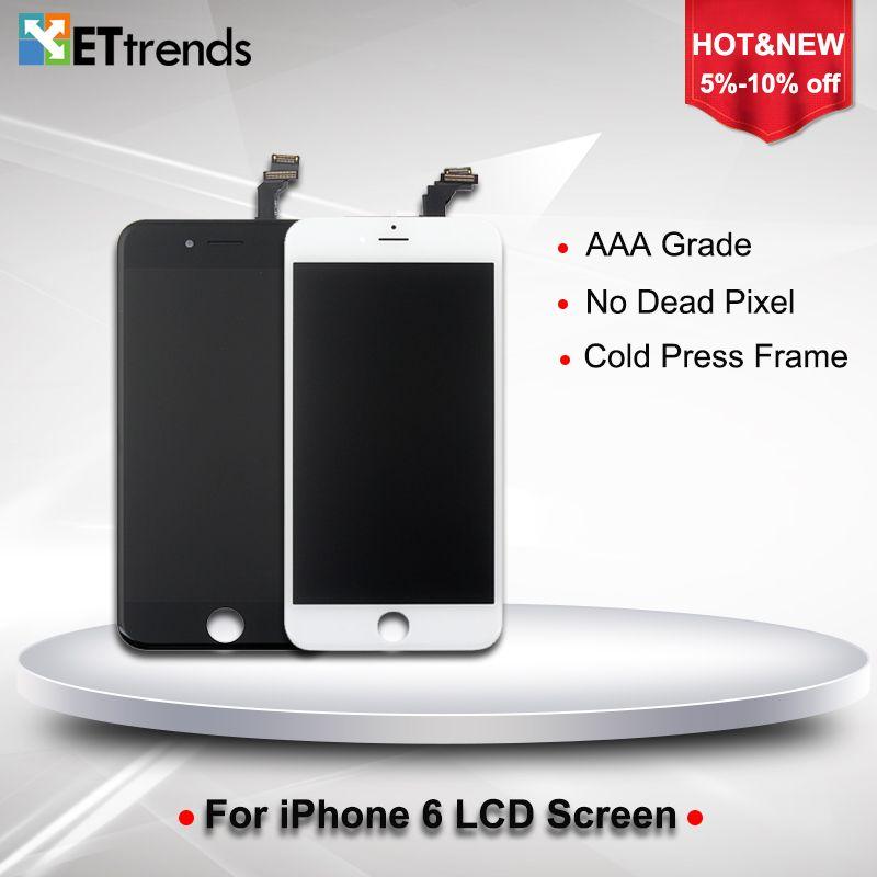 20 PCS/LOT AAA grade LCD affichage pour iPhone 6 4.7 LCD écran numériseur écran tactile assemblée avec cadre de presse à froid DHL livraison gratuite