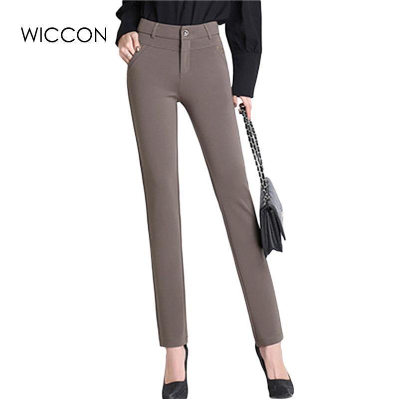 Printemps automne pantalon femmes bureau travail haute stretch coton dames pantalon épaissir femme taille haute pantalon WICCON
