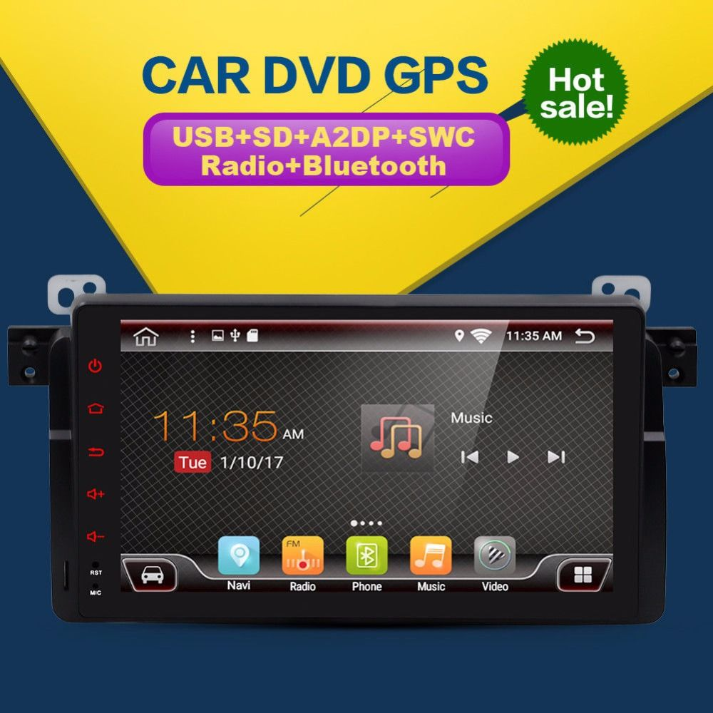 Map 1024X600 Quad Core Car DVD Android 7.1 for BMW E46 GPS M3 Wifi 3G Bluetooth