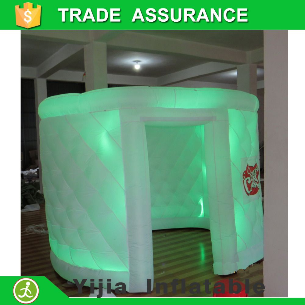1 Door white oval type lighting inflatable tent for photo booth