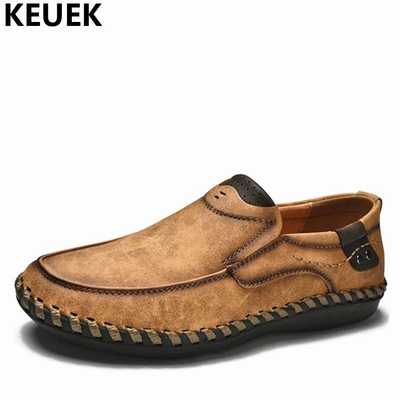 New arrival Autumn Men Casual shoes Handmade Breathable Slip-On Loafers Large size Driving shoes British style Leather shoes 01B