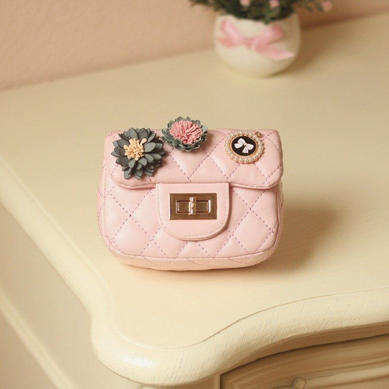 PU leather princess floral coin change purse wallet mini handbag cross-body money pouch bag carteira feminina carteira for girls