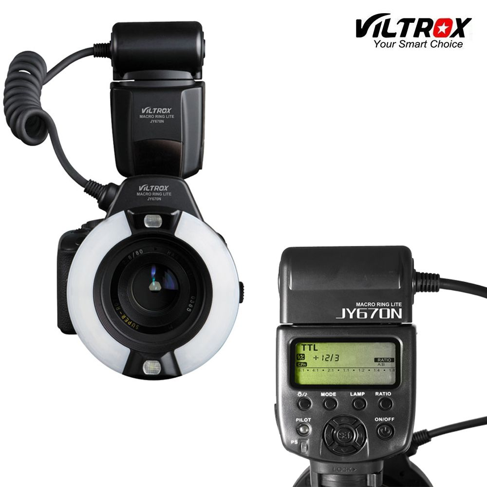 Viltrox JY-670N caméra Macro gros plan TTL anneau Flash Speedlite pour Nikon D3200 D3300 D5200 D5500 D7200 D800 D700 D90 DSLR