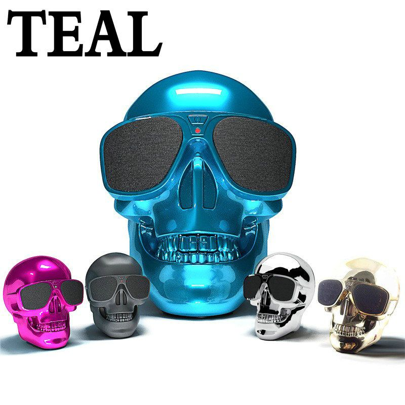 TEAL Skull Bluetooth Speaker Halloween Wireless Hallows Skull Head Portable speaker 8W Audio Rechargeable Battery Music Player