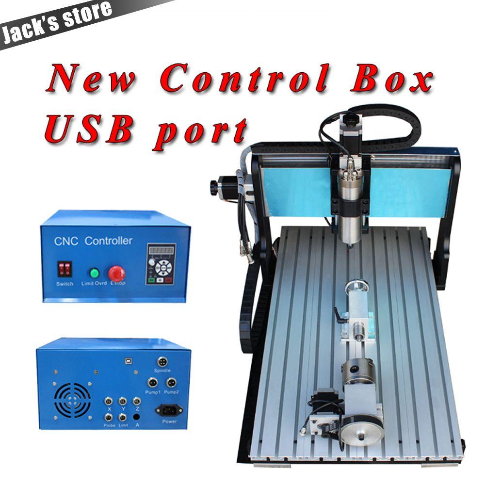USB port,6040Z-SS++(4aixs),1500W Spindle+2.2kw VFD CNC6040 CNC Router water-cooling Metal engraving machine cnc machine,CNC 6040