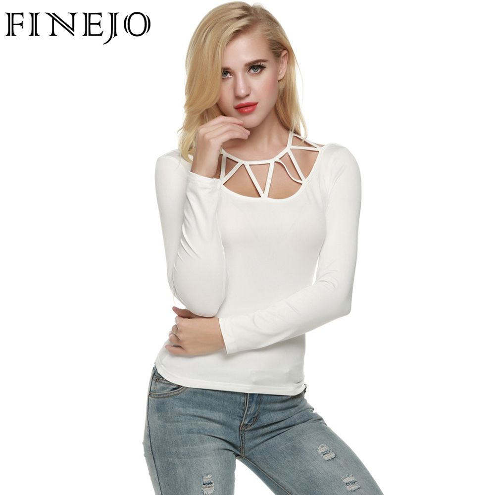 FINEJO Women Sexy Hollow Neck Long Sleeve Bandage Sexy Casual Solid Basic Tops White Gray Black Oversize