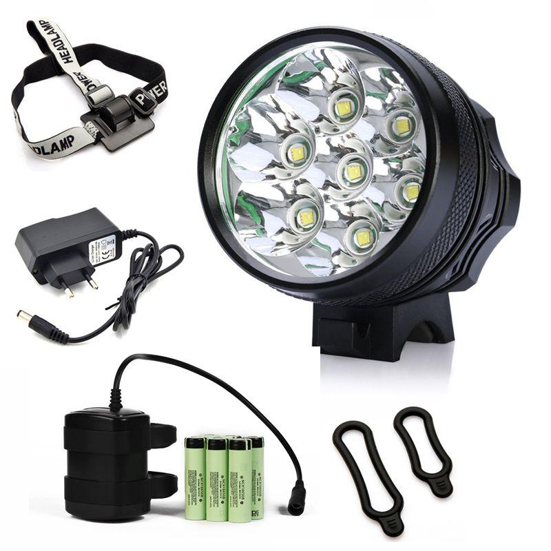 NOUVELLE Lumière De Vélo 7x CREE XM-L T6 LED Vélo Phare 8400 Lumen Montagne Vélo Lampe De Pêche Lumière 9600 mAh Étanche Batterie Pack