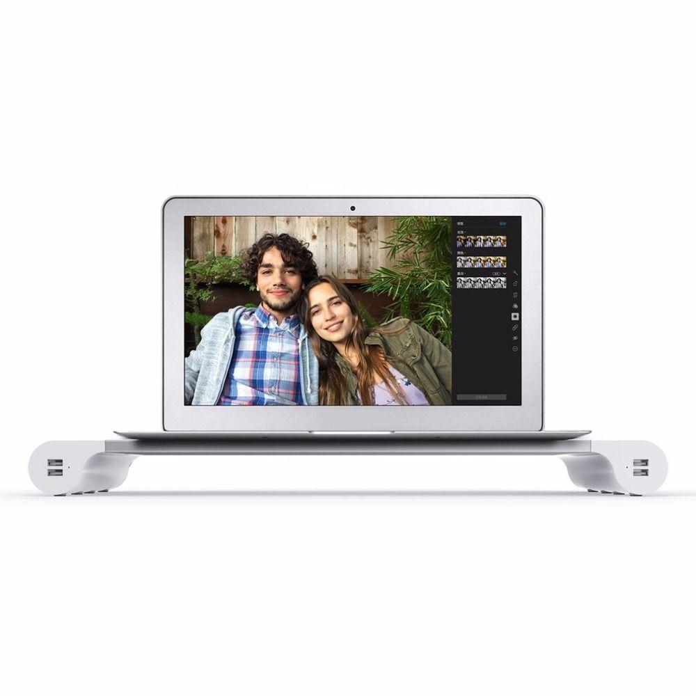 Klassisches Design Tragbare 4 Ports USB Laptop Computer Monitor Halter Halterung Erhöhen Stehen Us-stecker Für PC Tablets Laptops Handys