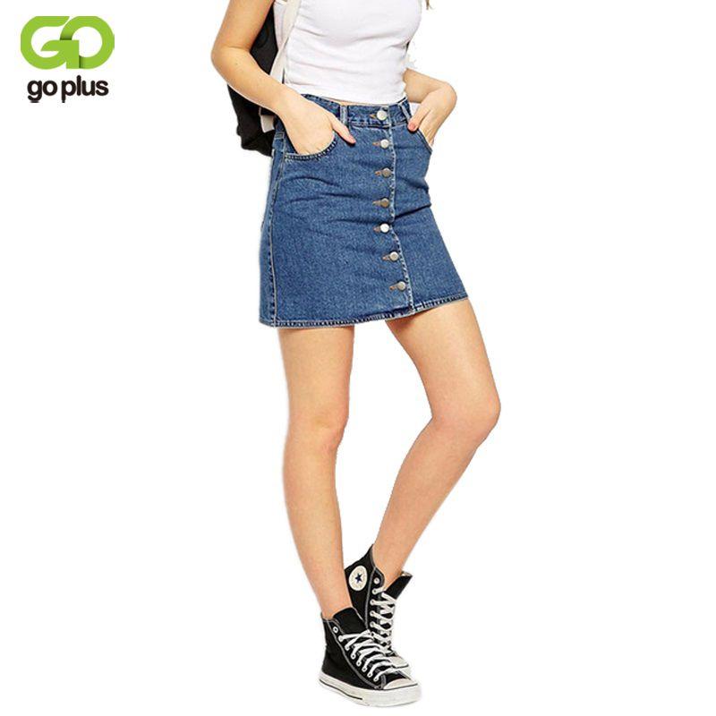 GOPLUS 2019 été Style nouveau mode court Jeans jupe femmes Faldas Mini Denim jupes taille haute simple poitrine a-ligne jupes