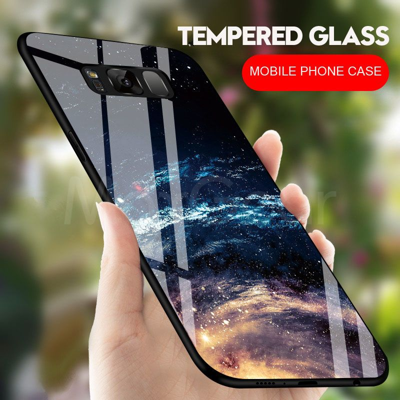 MaxGear For Samsung Galaxy S8 S9 Plus Back Cover Case Star Tempered Glass Phone Cases for Galaxy S9 + Case Coque Capa Fundas