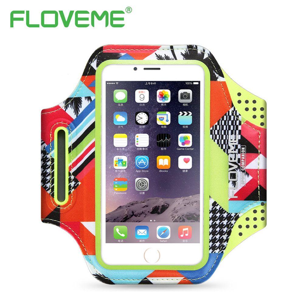FLOVEME 4-5.8 pouce Téléphone Sac de Sport Courir Couverture Pour iPhone 6 6 S 7 8 X Plus 5 5S Bras Bandes Téléphone Cas Réglable Gym titulaire