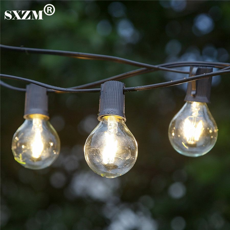 SXZM 7.6M 25pcs G40 Indoor/Outdoor Commercial Grade String Lights E12 filament bulbs Street Garden Patio Backyard Holiday