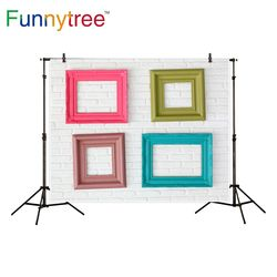 Funnytree photography backdrop colorful frames white brick wall decor background photo studio photocall new photo prop