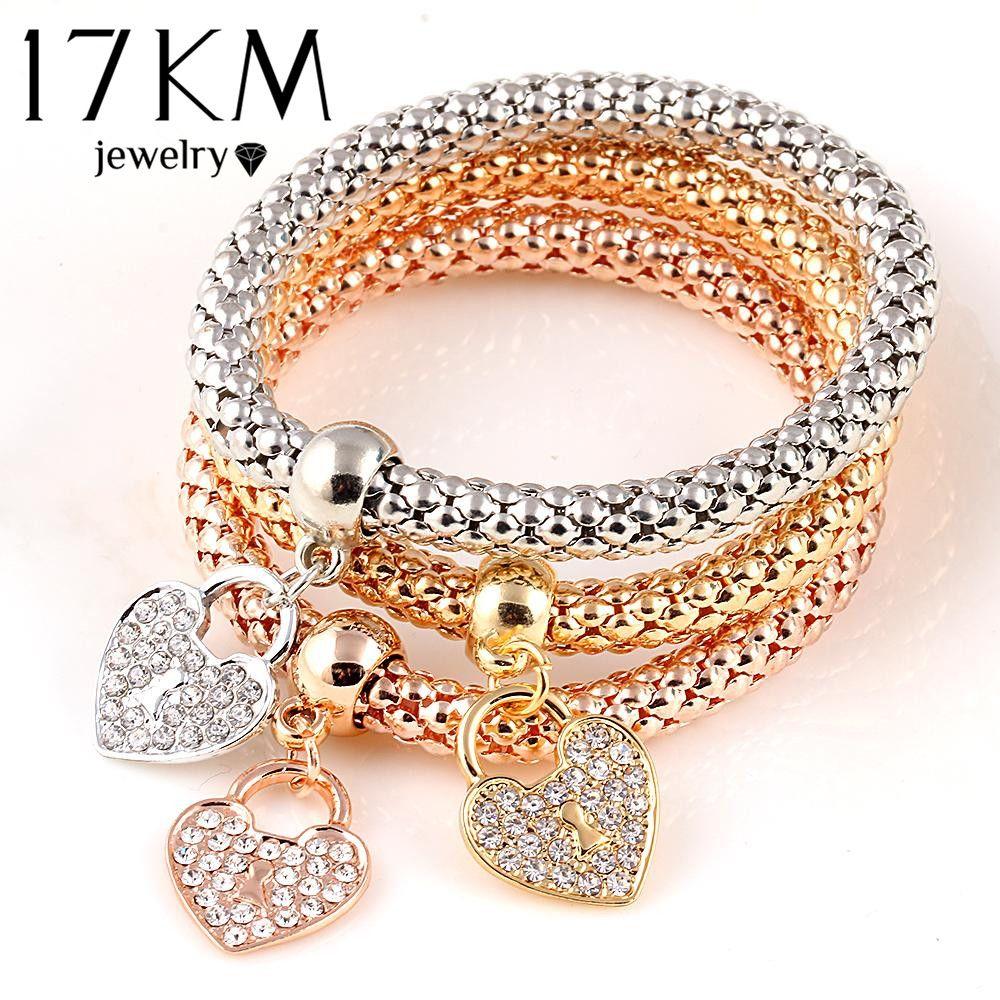 17 KM 3 Stücke Gold Farbe Elastische Armbänder Für Frauen Pulseras Armband Nette Multilayer Armreifen pulseira feminina Geschenke