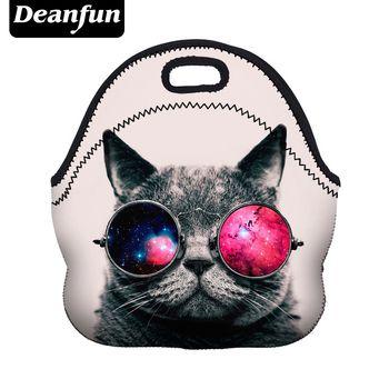 Beanfun bolsa de almuerzo para las mujeres 3D impreso gato patrón neopreno con cremallera picnic portátil nueva moda 50823