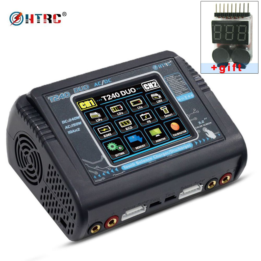 HTRC T240 DUO AC 150W /DC 240W Touch screen Dual Balance Charger discharger for RC Battery LiPo LiHV LiFe Lilon NiCd NiMh Pb