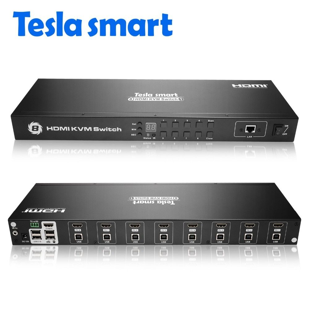 Tesla smart 2018 KVM USB HDMI Switch 8 Port KVM HDMI Switcher KVM Switch HDMI Support 3840*2160/4K 2 Pcs Rack Ears Standard 1U