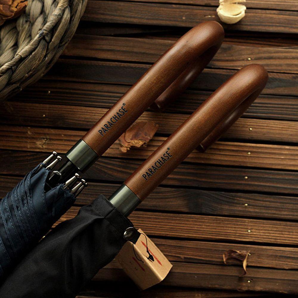 Nouveauté marque japonaise Long parapluie 8 K coupe-vent manche en bois grands hommes parapluies pluie qualité classique affaires paraguay