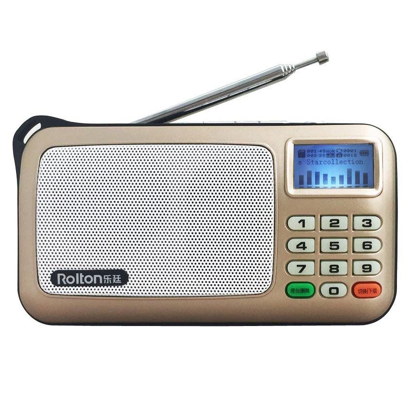 Rolton W505 MP3 WMA WA lecteur Mini haut-parleurs Radio portables Radio FM avec écran LCD Support TF carte jouant de la musique lampe de poche LED