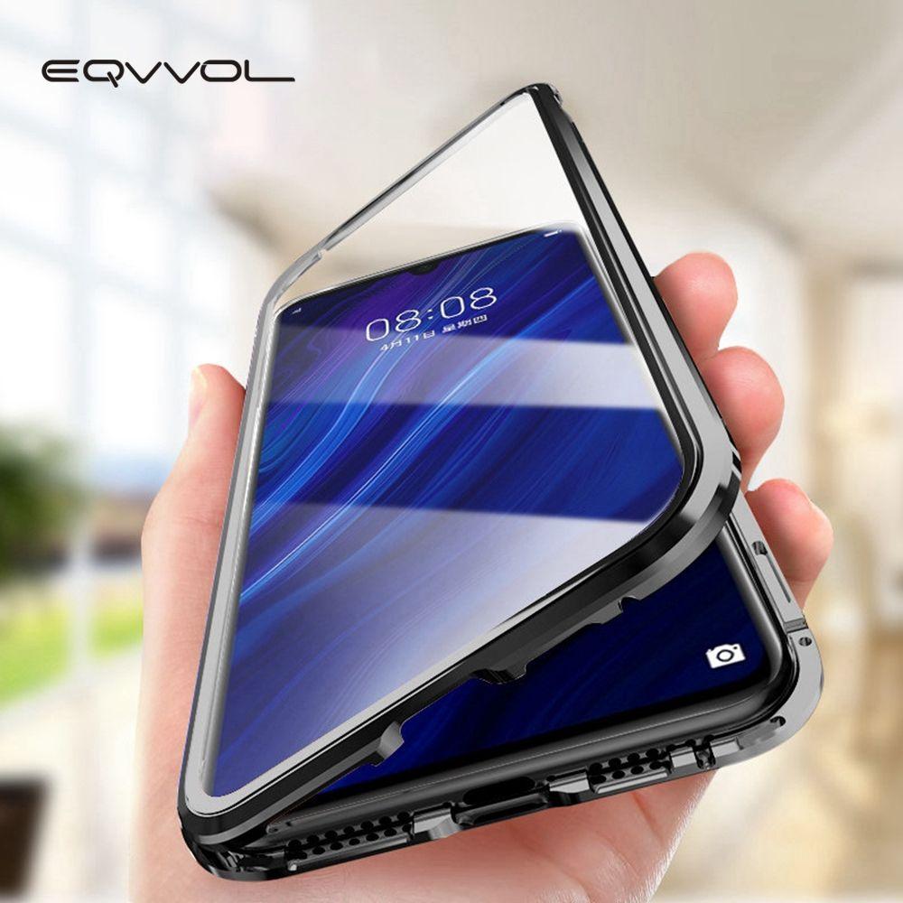 Eqvvol Mise À Niveau Magnétique En Métal Téléphone étui pour Samsung Galaxy S9 S8 S10 Plus Double Face Vitrine Sur Samsung Note 8 9 S8 Couverture