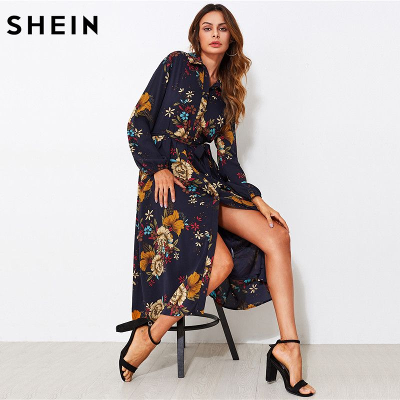 SHEIN Self Tie Fit & Flare Botanical Shirt Dress Black Lapel Long Sleeve Belted A Line Dress Elegant Work Floral Long Dress