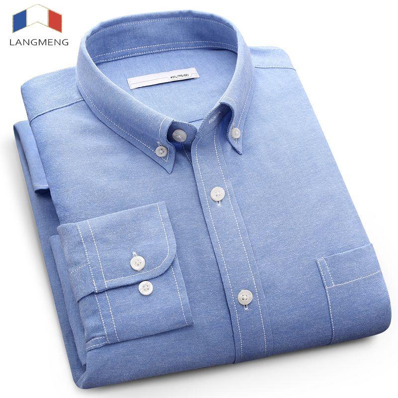 Langmeng 2017 Длинные рукава большие размеры 5XL мужчин повседневная рубашка мужская деловая рубашка брендовая мужская социальных Оксфорд рубашк...