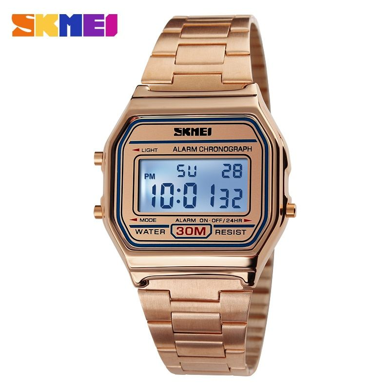 SKMEI Hot Men LED Digital Watch Sports Watches men's Relogio Masculino <font><b>Relojes</b></font> Stainless Steel Military Waterproof Wristwatches