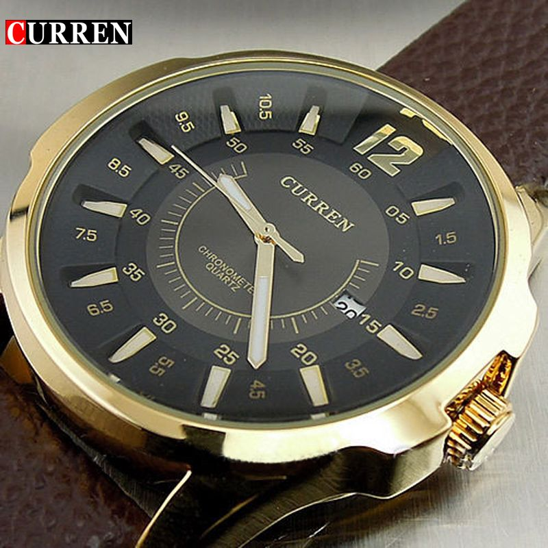 CURREN FASHION LUXURY BRAND MALE CLOCK <font><b>HOURS</b></font> DATE BROWN LEATHER STRAP MAN BUSINESS CASUAL WRIST WATCHES RELOJ Waterproof
