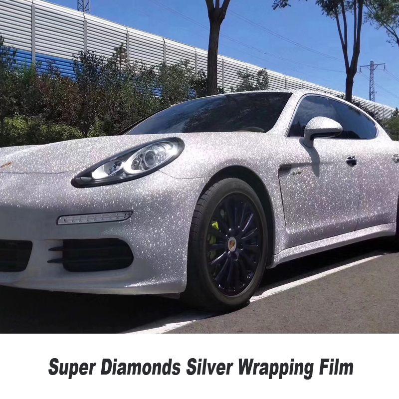 Höchste qualität super Diamanten Silber Vinyl Wrap Blase Freies lösungsmittel basierend low anfänglichen tack klebstoff 1,22 m X 18m /rolle