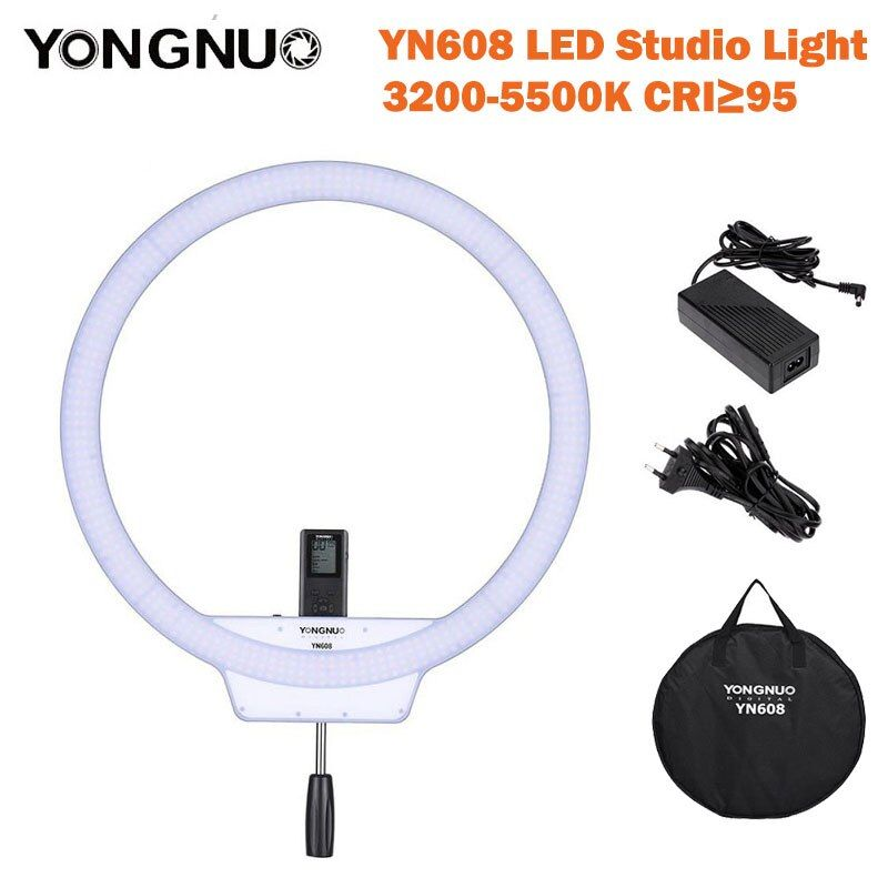 YongNuo YN608 LED Studio selfie Ring Light 3200-5500K Wireless Remote Video Light CRI>95 Photo Lamp with Carry Bag annular lamp