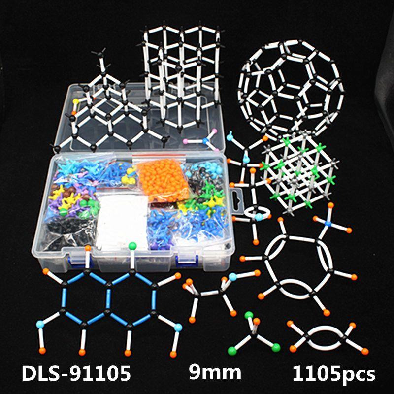 1105 pcs 9mm grand ensemble Moléculaire Modèle Kit, organiques Et Inorganiques structure Cristalline, enseignement de La Chimie modèle pour le professeur et les étudiants