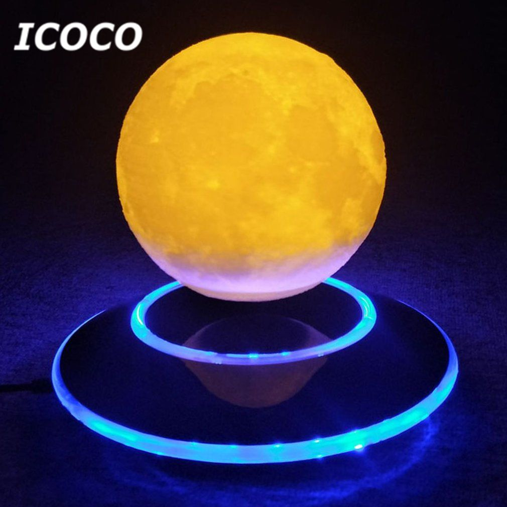 Icoco 12 см 3D левитации Moon лампа Magnetic Floating ночник Романтический фестиваль подарок на день рождения для Домашний Декор Прямая поставка