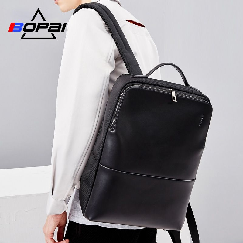 2018 BOPAI Cool Mens Backpacks Man Rucksack 14 Inch Laptop Bag <font><b>Student</b></font> Schoolbags Men Travel Leather Backpack Bags Black bagpack