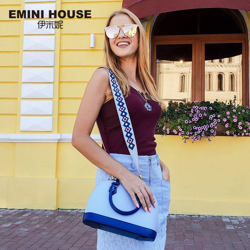 EMINI HOUSE Indian Style Shell Bag Split Leather Luxury Handbags Women Bags Designer Shoulder Bag Female Women's Handbags
