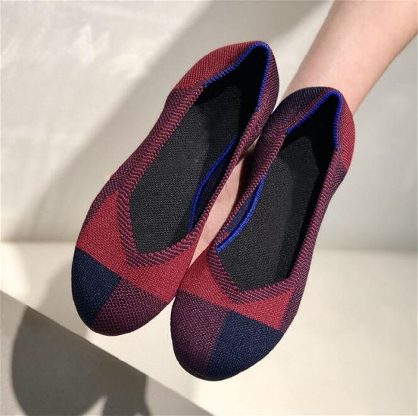 ZOUDKY 2018 south korean style Splice color Shallow mouth Elastic force Cloth women's shoes