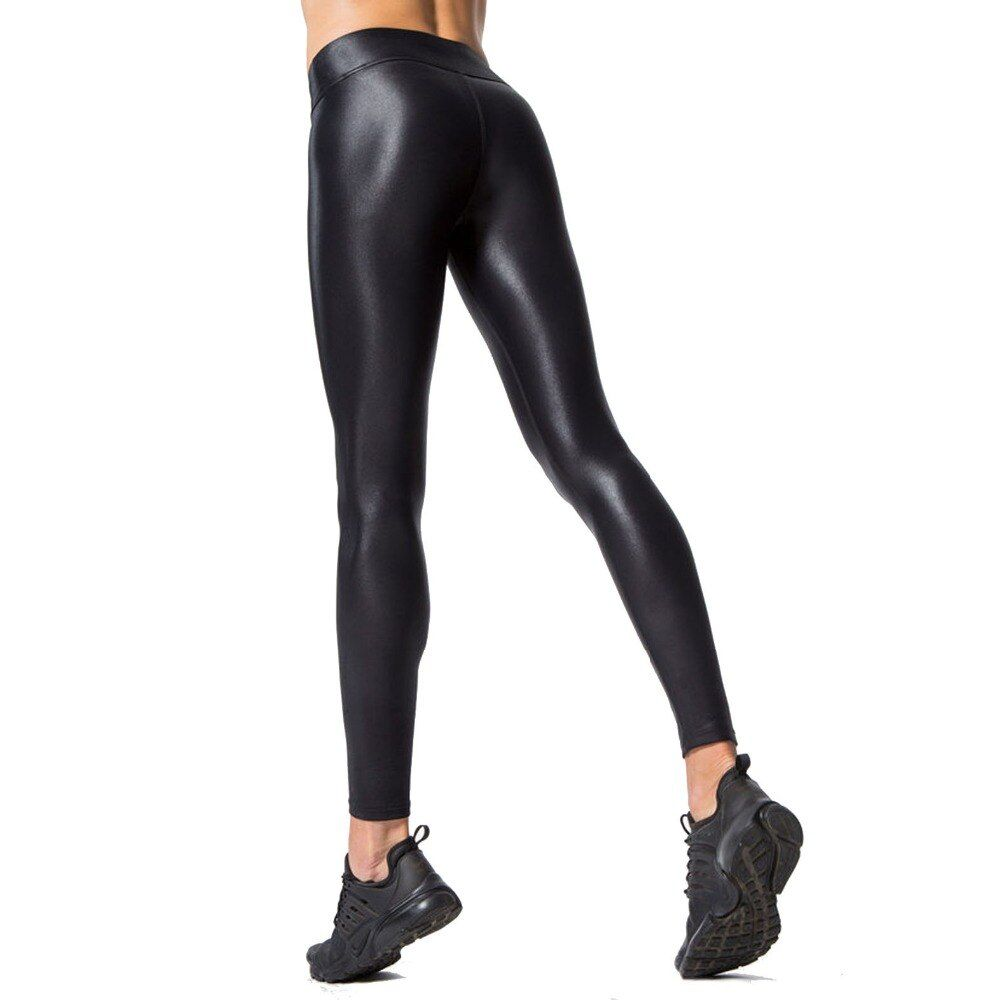 PU Panel Women Winter Warm Leather Leggings Sporting Leggings Breathable Quick Dry Trousers Black Sexy Push Up Gymming Leggings