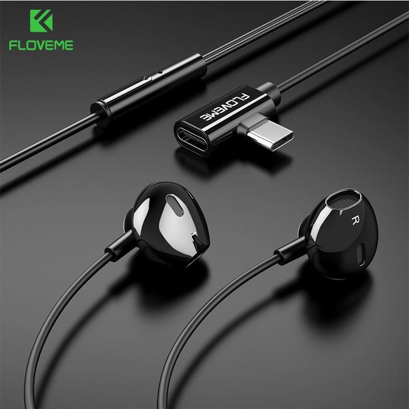 Floveme 2 en 1 USB type C écouteur pour Xiao mi mi 8 SE A1 A2 mi x 2 s Samsung S10 S9 charge Sport écouteur casque fone de ouvido