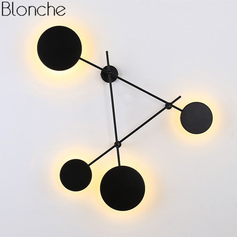 Modern Nordic Round Wall Lamps Bedroom Bedside Lamp Led Wall Sconce Light Fixtures Black Iron Luminaire Indoor Loft Home Decor