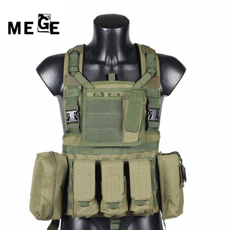 MEGE Militärische Taktische Weste Polizei Paintball Wargame Tragen MOLLE Körper Rüstung Jagd Weste CS Produkte Ausrüstung Schwarz, Tan