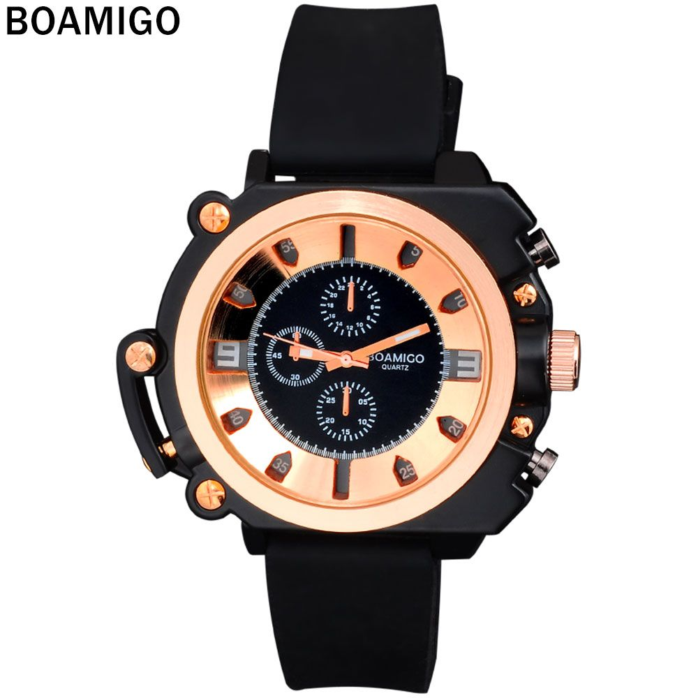 2016 watches men luxury brand BOAMIGO fashion casual sports military analog quartz watches rubber strap wristwatches rose gold