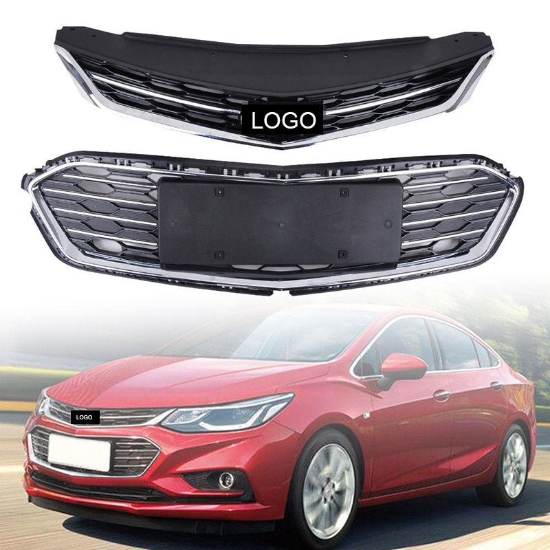 2Pcs Car Racing Grill For Chevrolet Cruze 2017 2018 Grille Emblems Radiator Chrome Mesh Horizon Front Bumper Lower Trim Modify