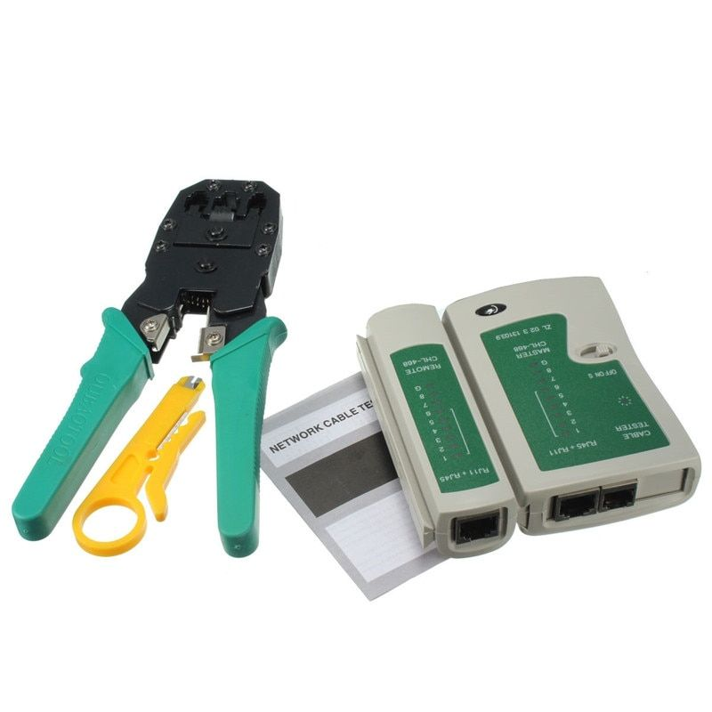 4-in-1 Portable LAN Network Tool Kit Utp Cable Tester AND Plier Crimp Crimper Plug Wire Stripper Heads RJ45 RJ11 RJ12 CAT5 CAT5e