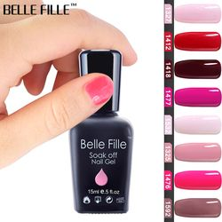 BELLE FILLE 15 ml Gel Vernis À Ongles UV Noir Blanc Rose Rouge Soak Off Gel Polish Gel Laque Nail Art Vernis Semi Permanent 1477